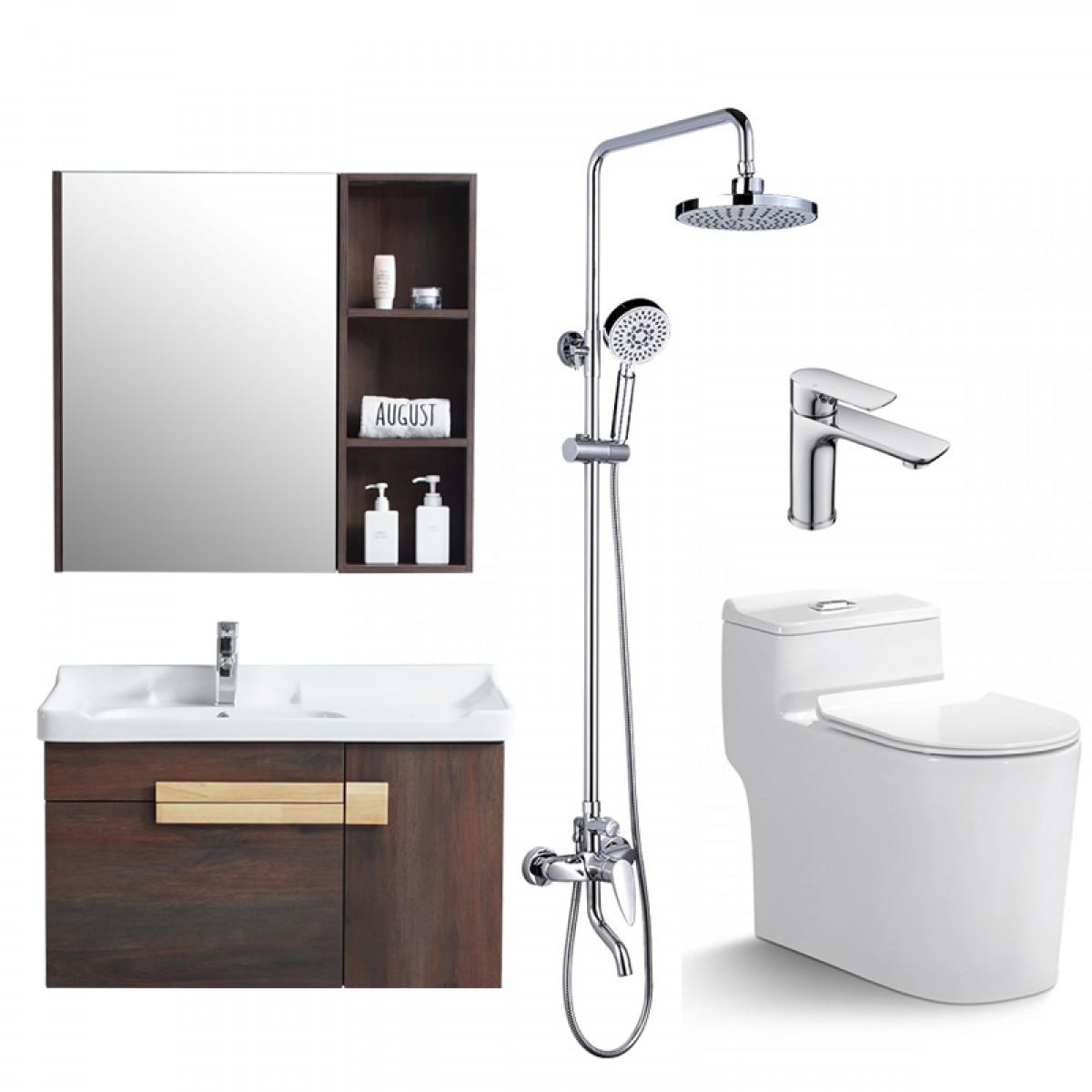陶的卫浴 实木浴室柜四件套(浴室柜TD-68003TZ+坐便器TD-8807+花洒TD-SD1161+龙头TD-TWN1101)