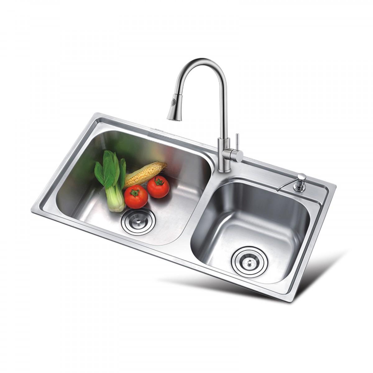 邦斯特 不锈钢双盆水槽+龙头套餐 7843L+2008