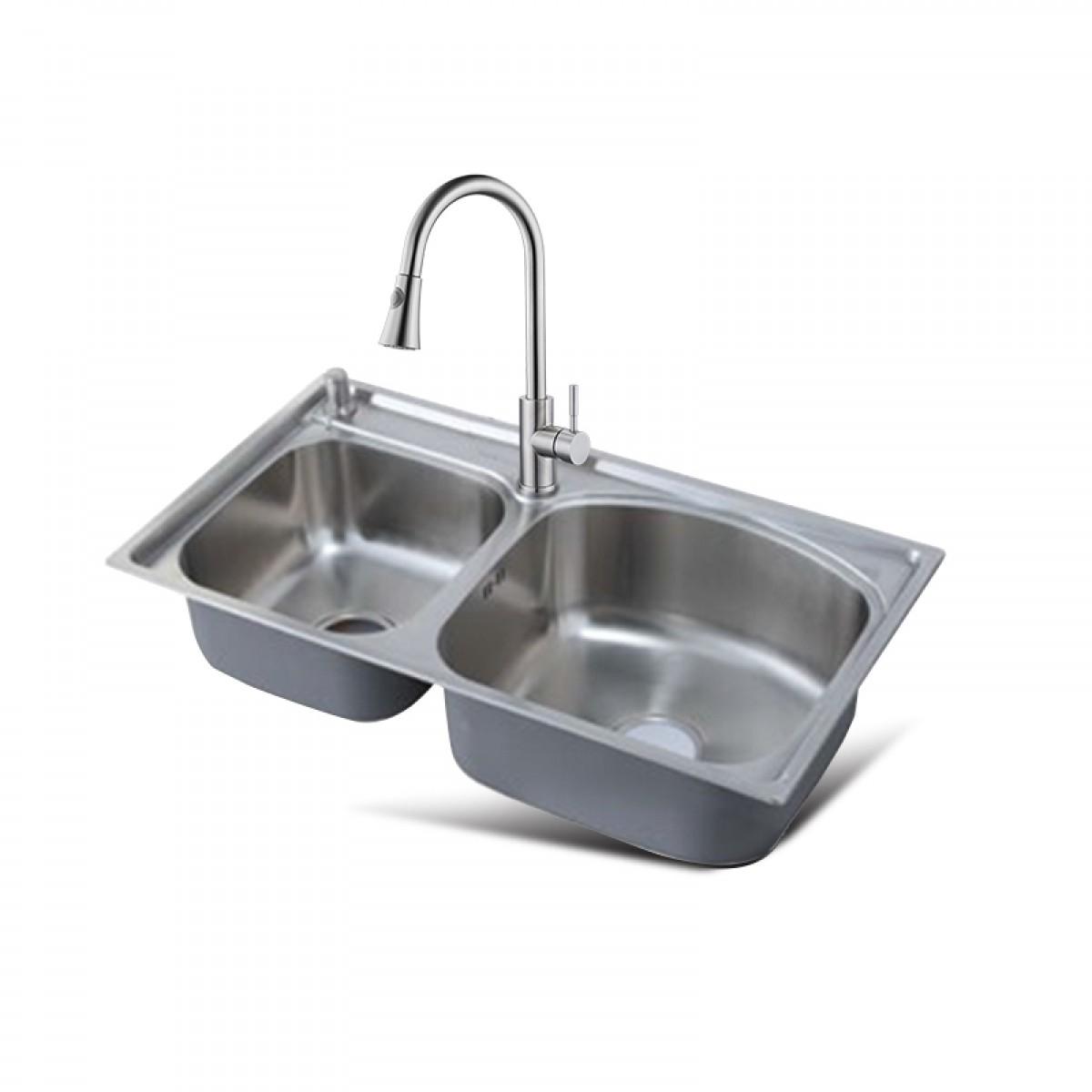 邦斯特 不锈钢双盆水槽+龙头套餐 8245L+2008
