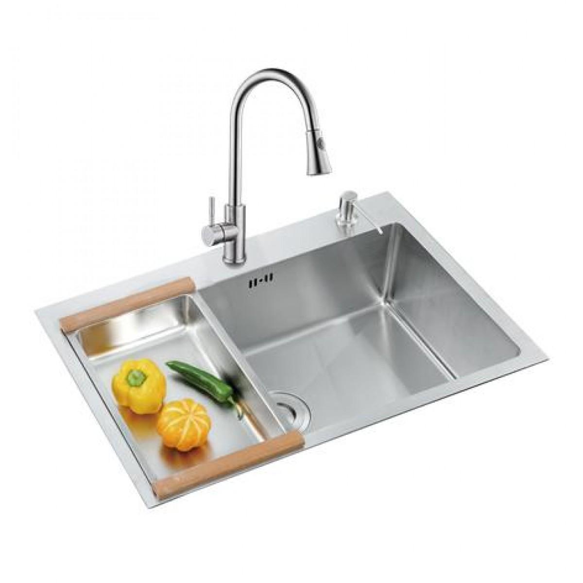 邦斯特 不锈钢单盆水槽+龙头套餐 H6845D+2008