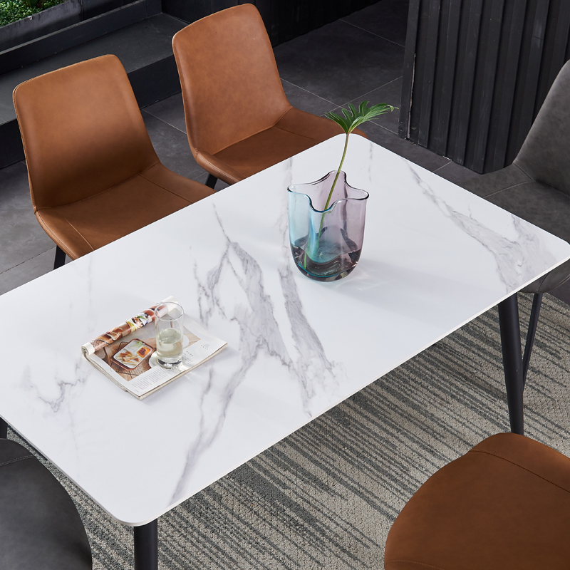 舒蒙(奈斯)现代简约风格餐厅一桌四椅组合岩板餐桌高仿皮餐椅